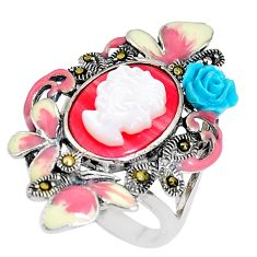 6.20cts natural pink opal pearl enamel lady face 925 silver ring size 6 c16221