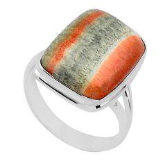 13.30cts natural orange celestobarite 925 silver solitaire ring size 9 r95797