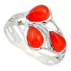 2.75cts natural orange cornelian (carnelian) 925 silver ring size 5.5 r25870