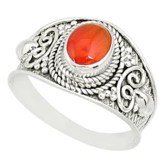 2.13cts natural orange cornelian (carnelian) 925 silver ring size 9 r81511