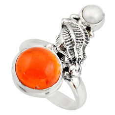 6.63cts natural orange cornelian (carnelian) pearl 925 silver ring size 7 d46121