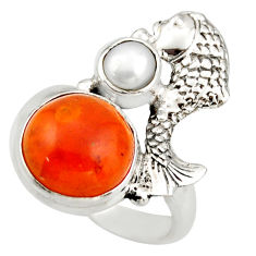 6.25cts natural orange cornelian (carnelian) silver fish ring size 6.5 d46122