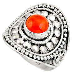 Clearance Sale- 3.44cts natural orange cornelian 925 silver solitaire ring size 9.5 d39020