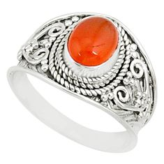 2.14cts natural orange cornelian 925 silver solitaire ring size 7.5 r81510