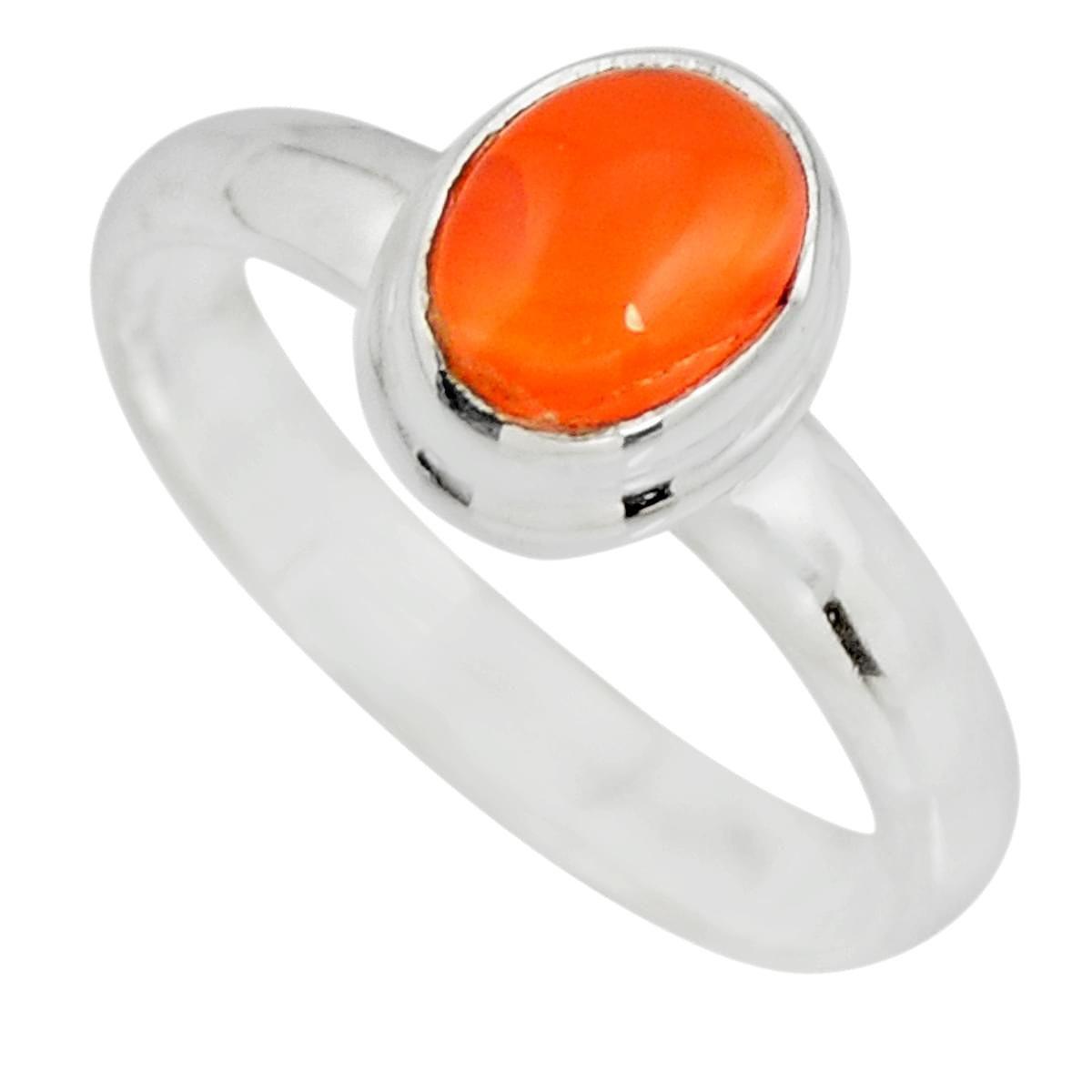 Natural Carnelian Ring 925 Sterling Silver Handmade Jewelry Size 7.5 Vu38988