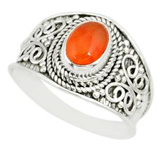 2.14cts natural orange cornelian 925 silver solitaire ring size 9 r81508