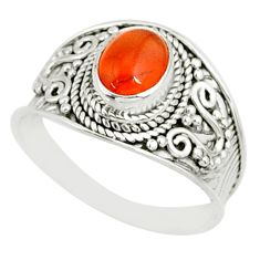 2.14cts natural orange cornelian oval 925 silver solitaire ring size 9 r81509