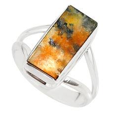 7.07cts natural orange dendritic quartz 925 sterling silver ring size 7.5 r88503