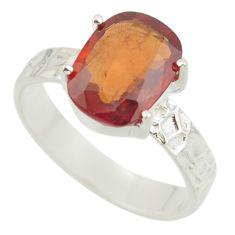 5.16cts natural orange hessonite garnet 925 sterling silver ring size 9.5 r43324