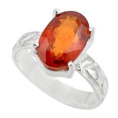 4.25cts natural orange hessonite garnet 925 sterling silver ring size 6.5 r43327