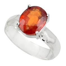 4.35cts natural orange hessonite garnet 925 sterling silver ring size 7.5 r43330