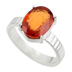 4.22cts natural orange hessonite garnet 925 sterling silver ring size 7.5 r43334