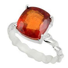 5.28cts natural orange hessonite garnet 925 sterling silver ring size 8.5 r43339