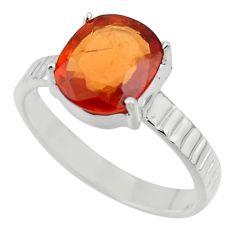 4.54cts natural orange hessonite garnet 925 sterling silver ring size 9.5 r43345