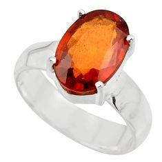 4.76cts natural orange hessonite garnet 925 sterling silver ring size 6.5 r43354