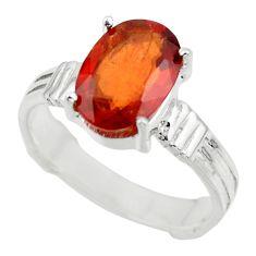 4.71cts natural orange hessonite garnet 925 sterling silver ring size 8.5 r43358