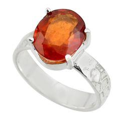 5.28cts natural orange hessonite garnet 925 sterling silver ring size 6 r43321