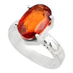 4.58cts natural orange hessonite garnet 925 sterling silver ring size 6 r43343