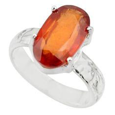 5.16cts natural orange hessonite garnet 925 sterling silver ring size 6 r43344