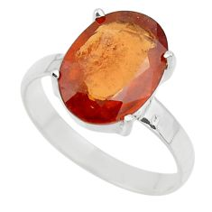4.94cts natural orange hessonite garnet 925 sterling silver ring size 7 r43325