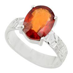 5.42cts natural orange hessonite garnet 925 sterling silver ring size 7 r43326
