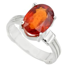 4.61cts natural orange hessonite garnet 925 sterling silver ring size 7 r43329