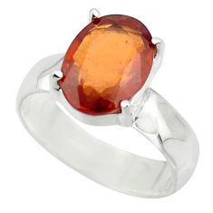 4.28cts natural orange hessonite garnet 925 sterling silver ring size 7 r43331
