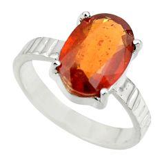 4.50cts natural orange hessonite garnet 925 sterling silver ring size 7 r43335