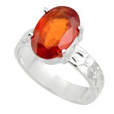 4.37cts natural orange hessonite garnet 925 sterling silver ring size 7 r43341