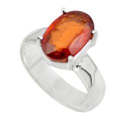 4.91cts natural orange hessonite garnet 925 sterling silver ring size 7 r43350