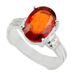 4.53cts natural orange hessonite garnet 925 sterling silver ring size 7 r43357