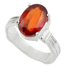 4.58cts natural orange hessonite garnet 925 sterling silver ring size 7 r43360