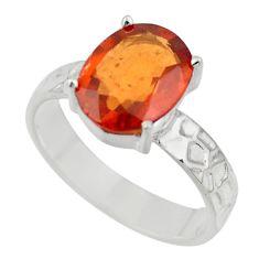 5.11cts natural orange hessonite garnet 925 sterling silver ring size 8 r43322