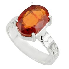 5.35cts natural orange hessonite garnet 925 sterling silver ring size 8 r43323