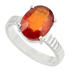 4.69cts natural orange hessonite garnet 925 sterling silver ring size 8 r43333