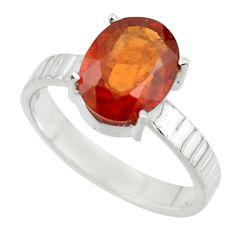 4.72cts natural orange hessonite garnet 925 sterling silver ring size 8 r43336