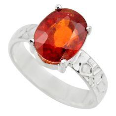 4.51cts natural orange hessonite garnet 925 sterling silver ring size 8 r43347