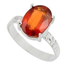 3.91cts natural orange hessonite garnet 925 sterling silver ring size 8 r43348