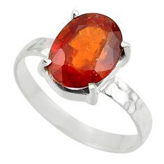 3.67cts natural orange hessonite garnet 925 sterling silver ring size 8 r43349