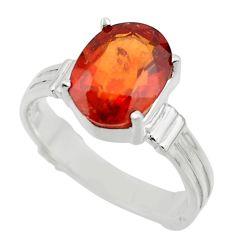 4.47cts natural orange hessonite garnet 925 sterling silver ring size 8 r43359