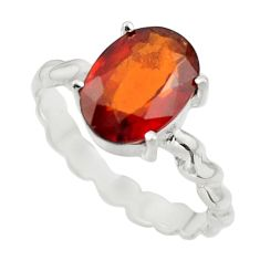 4.39cts natural orange hessonite garnet 925 sterling silver ring size 9 r43338