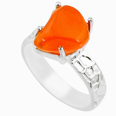 4.67cts natural orange mexican fire opal 925 silver solitaire ring size 7 r71747