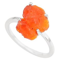 5.35cts natural orange mexican fire opal 925 silver solitaire ring size 7 r91579