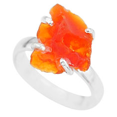 5.47cts natural orange mexican fire opal 925 silver solitaire ring size 7 r91589