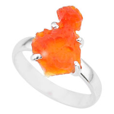 5.54cts natural orange mexican fire opal 925 silver solitaire ring size 7 r91612