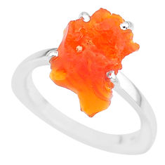6.53cts natural orange mexican fire opal 925 silver solitaire ring size 7 r91637