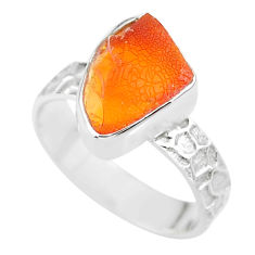 5.43cts natural orange mexican fire opal 925 silver solitaire ring size 7 r91646