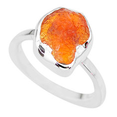 6.03cts natural orange mexican fire opal 925 silver solitaire ring size 7 r91658