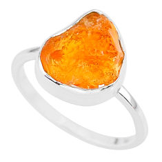 4.69cts natural orange mexican fire opal 925 silver solitaire ring size 7 r91659