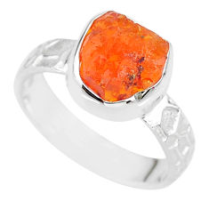 5.13cts natural orange mexican fire opal 925 silver solitaire ring size 7 r91672